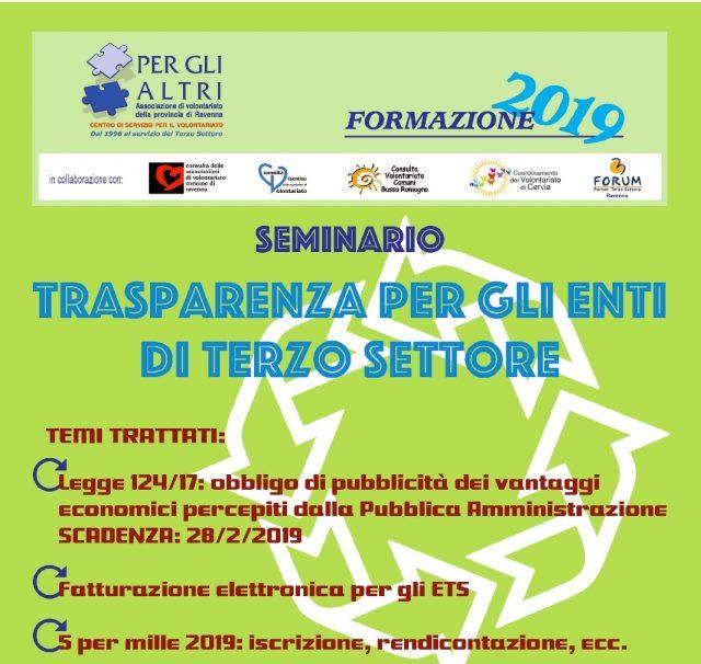 Seminario trasparenza per gli enti del terzo settore